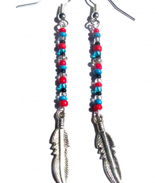 Boho Beaded Feather Earrings