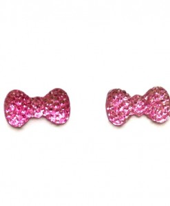 pink bow earrings