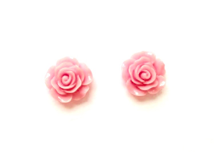pink rose stud earrings