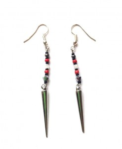 red and black spike earrings