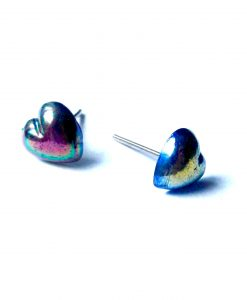 Black Iridescent Heart Studs