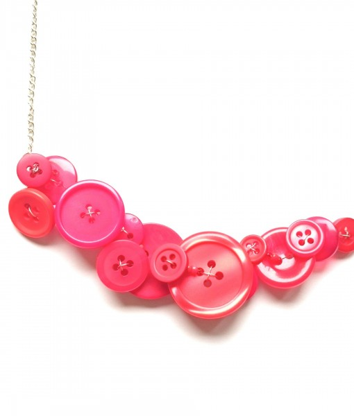 Berry Red Button Necklace