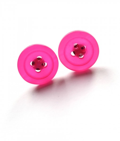 Pink Button Earrings
