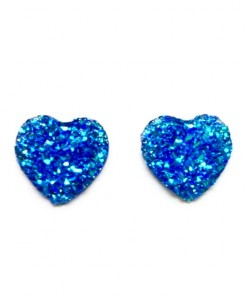 BLUE SPARKLE HEART STUDS