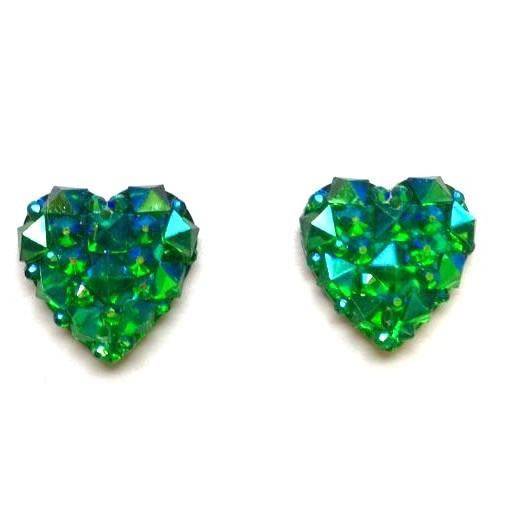 green sparkle heart studs