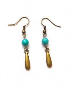 bronze turquoise drop earrings