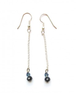 black crystal chain earrings