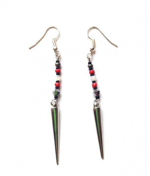 red and black spike earrings