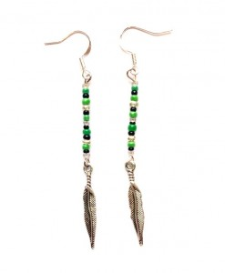 green beaded feather earrings