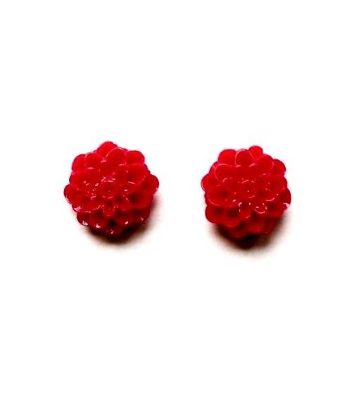 red dahlia earrings
