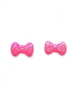 neon pink bow earrings