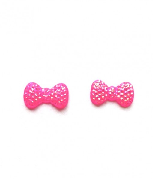 neon pink bow earrings