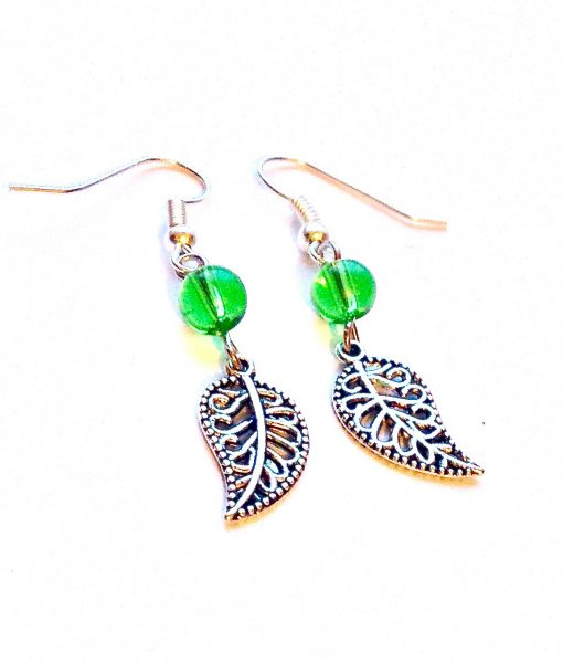 Green Paisley Leaf Earrings