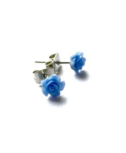 Blue Rose Studs