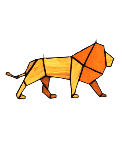 stained glass lion origami suncatcher
